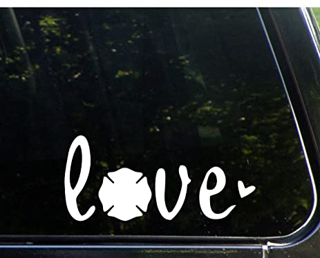 Amazon love with firemans maltese 8 12 x 4 vinyl die love with firemans maltese 8 12quot x 4quot vinyl die sciox Image collections