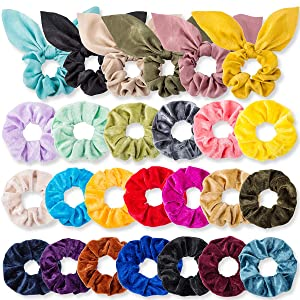 26 Pcs Hair Scrunchies, 20 Pcs Velvet Elastic Hair Bands Scrunchy, 6 Pcs Bunny Ear Style Silk Scarf Scrunchies Ponytail Holder Scrunchy Hair Ties for Women & Girls, 26 Colors (26 Pcs/26 Colors)