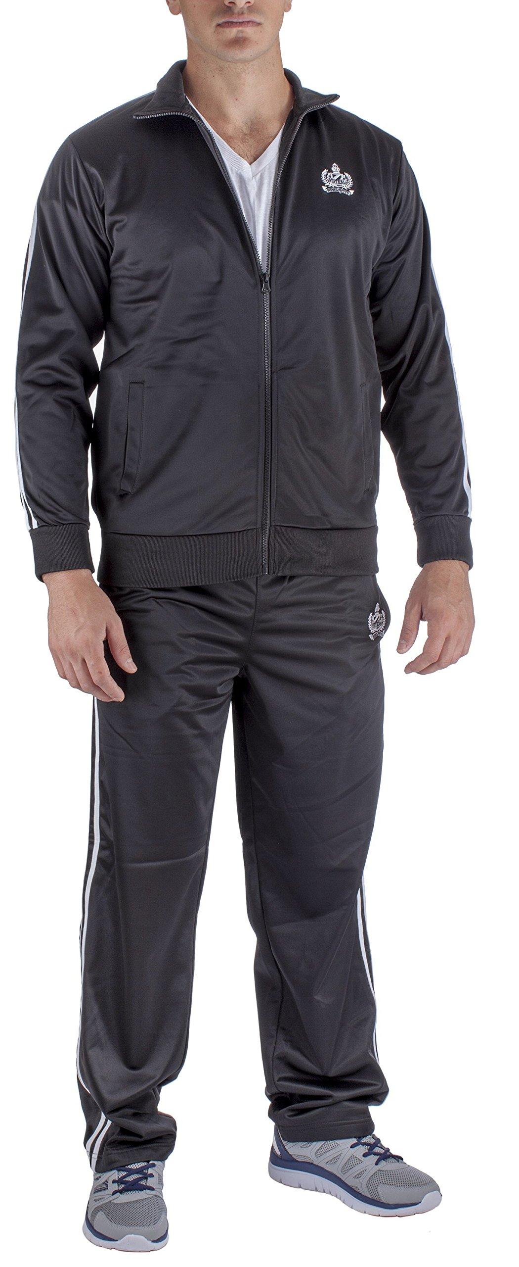 Vertical Sport Men's 2 Piece Jacket Pants Track Suit JS10 (Large, Black)