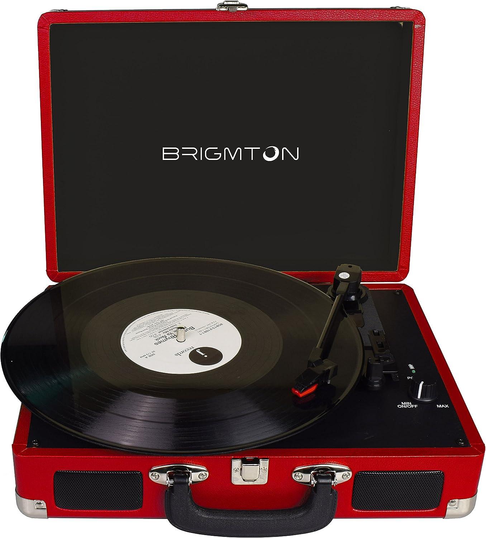 Brigmton BTC-404-R tocadisco - Tocadiscos (DC, Rojo)