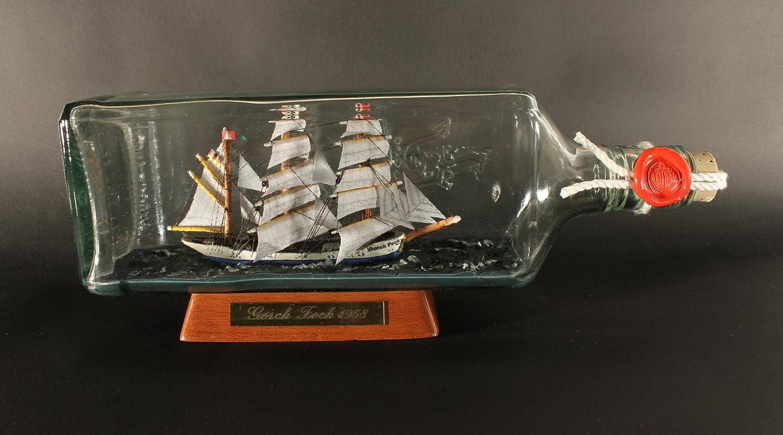 27x9 cm Gorch Fock eckige Ginflasche 0,7 Liter Buddelschiff Flaschenschiff ca