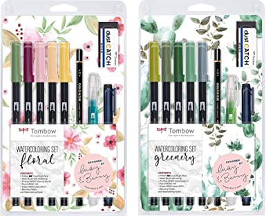 Tombow Watercoloring Set (Floral + Greenery Bundle Kit) incluye instrucciones y accesorios: Amazon.es: Industria, empresas y ciencia