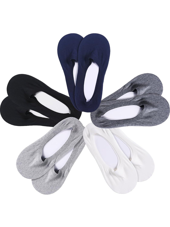 5 Pairs Men Low Cut Liner Socks Invisible Nonslip Casual