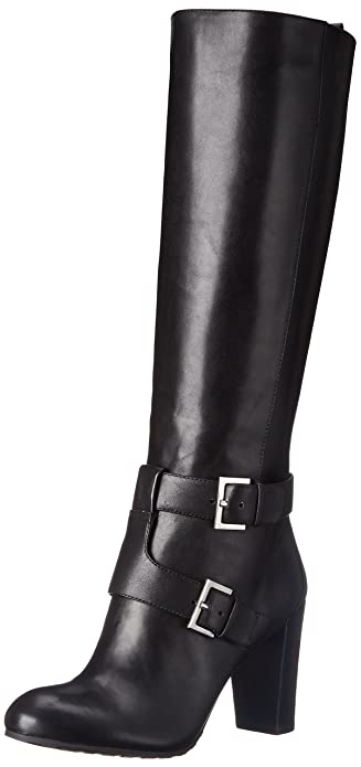 Nine West Women's Skylight Leather Knee High Boot, Black, ...