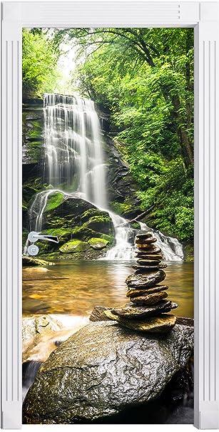 Stilzeit Möbel Zen Steine Vor Wasserfall Als Türtapete Format