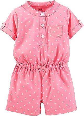 Carters Baby Girls Polka Dot Romper 24 Month Pink
