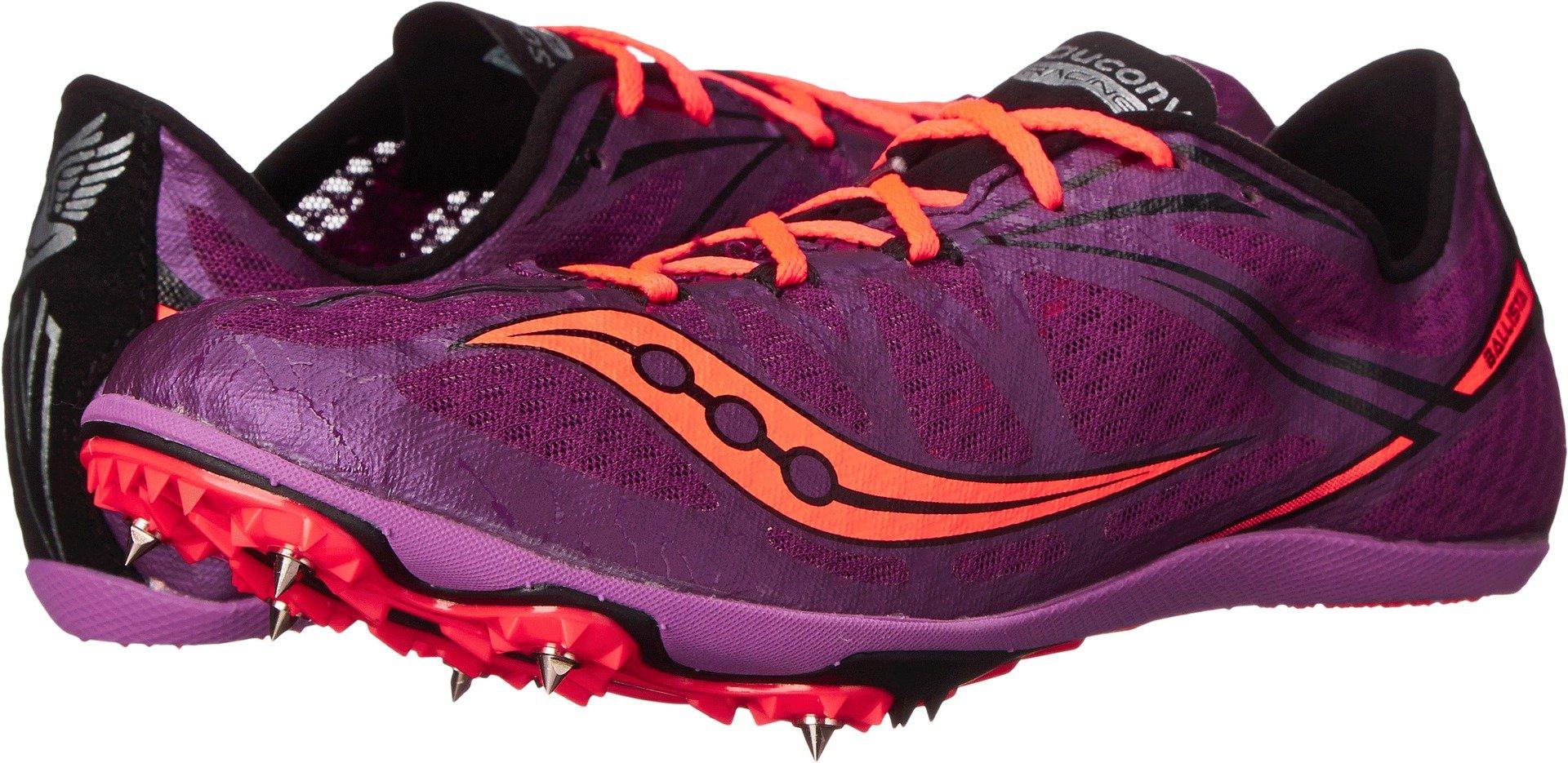 Saucony Women's Ballista Spike Shoe, Purple/Vizi Coral, 9.5 M US