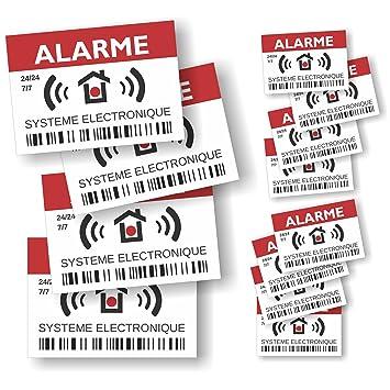 Decooobe Autocollants Dissuasifs Alarme Système électronique Lot De 12 4 Grands De 148 X 105 Cm 8 Petits De 74 X 52 Cm
