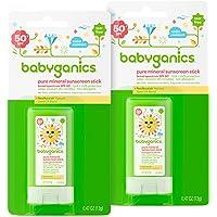 Babyganics Mineral-Based Baby Sunscreen Stick, SPF 50.47oz Stick (Pack of 2)
