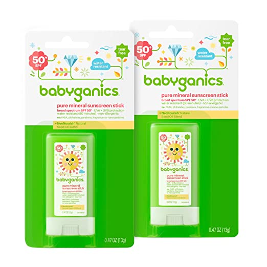 Babyganics Sunscreen Stick SPF 50, .47oz Stick (Pack of 2) Best Kids' Sunblock