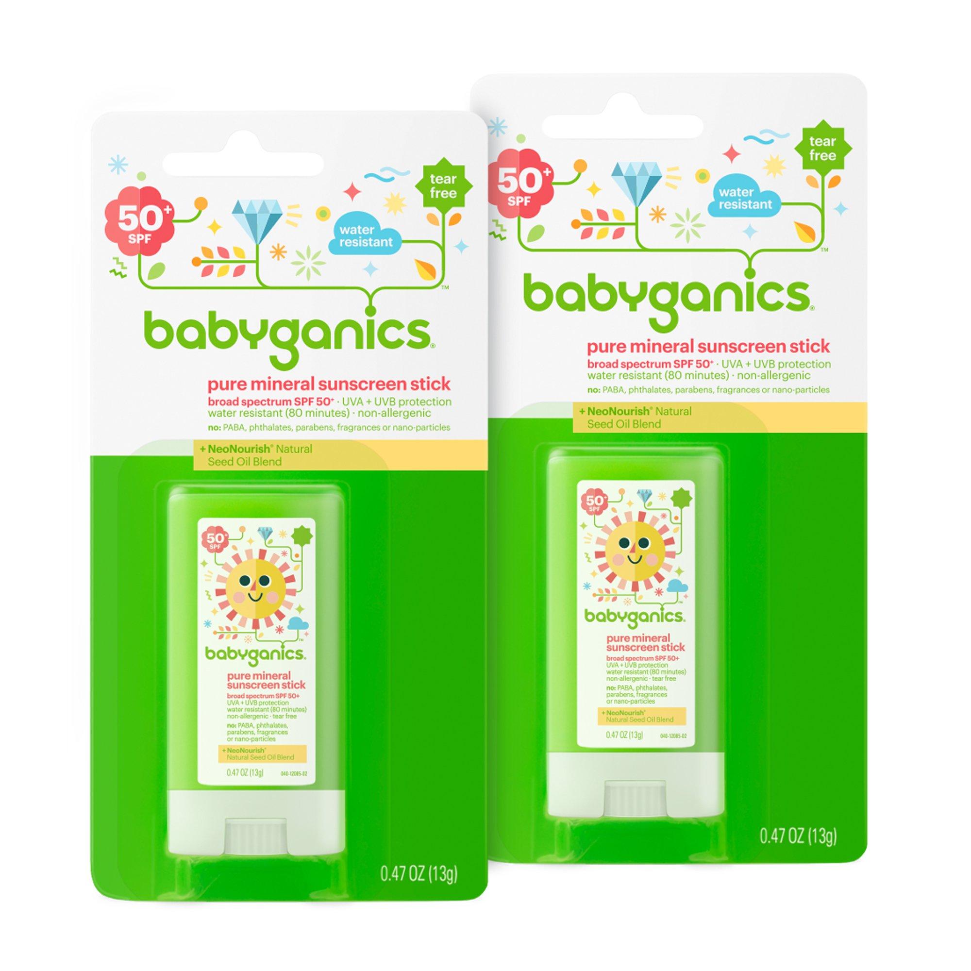 Babyganics Pure Mineral Sunscreen Stick SPF 50, .47oz Stick (Pack of 2)