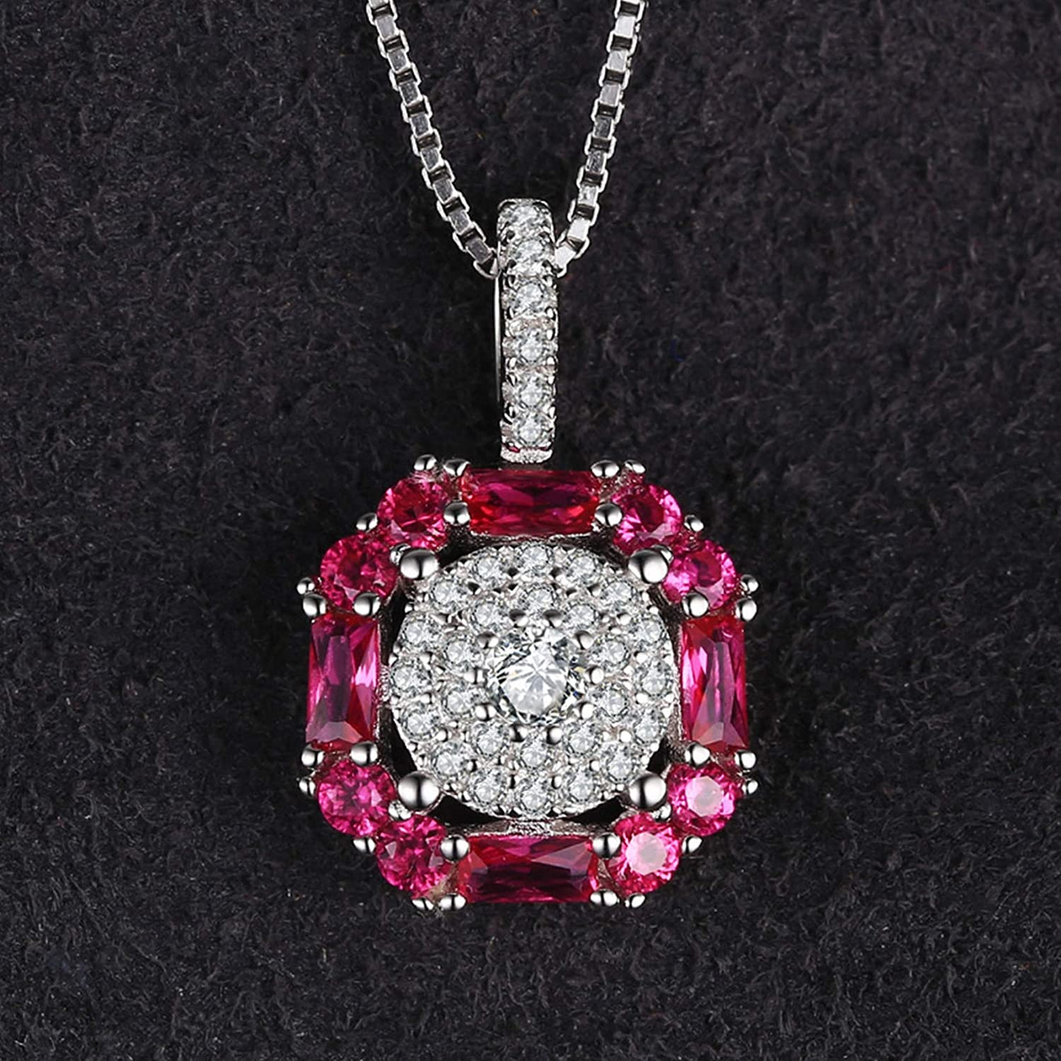 CS-DB Silver 1.26ct Ruby Halo FashionPendants Necklaces For Womens