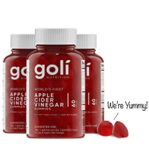 "World's First Apple Cider Vinegar Gummy Vitamins by Goli Nutrition - 3 Pack - (180 Count, Organic, Vegan, Gluten-Free, Non-GMO, with ""The Mother"", Vitamin B9, B12, Beetroot, Pomegranate)"