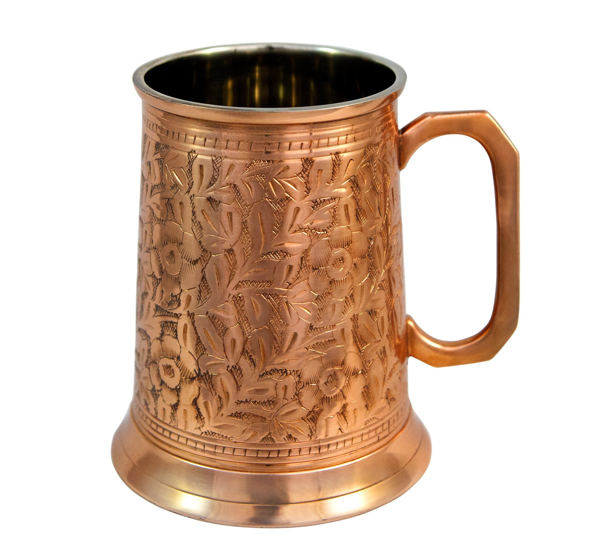 Copper German Beer Stein - Handcrafted Copper Antique Large Beer Stein Mug, Best Copper Tankard Mug Gift For Beer Or Moscow Mule Lover - Capacity 20 OZ by Alchemade