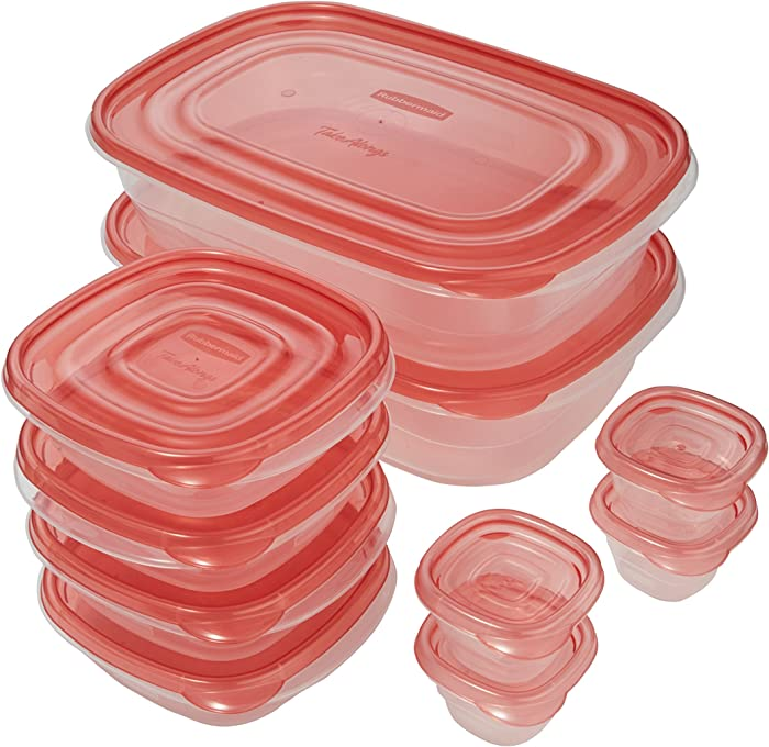 Rubbermaid TakeAlongs Food Storage Containers, 20 Count, Tint Chili, 1893670