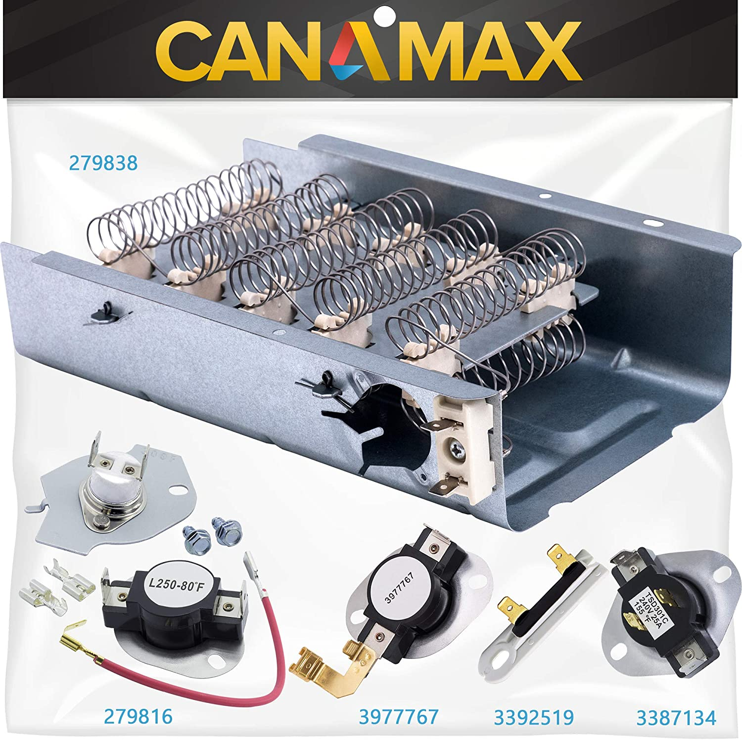 279838 279816 3387134 3977767 3392519 Dryer Heating Element with Thermal Cut-off Fuse COMPLETE Dryer Repair Kit Premium Replacement by Canamax - Compatible with Whirlpool Dryers