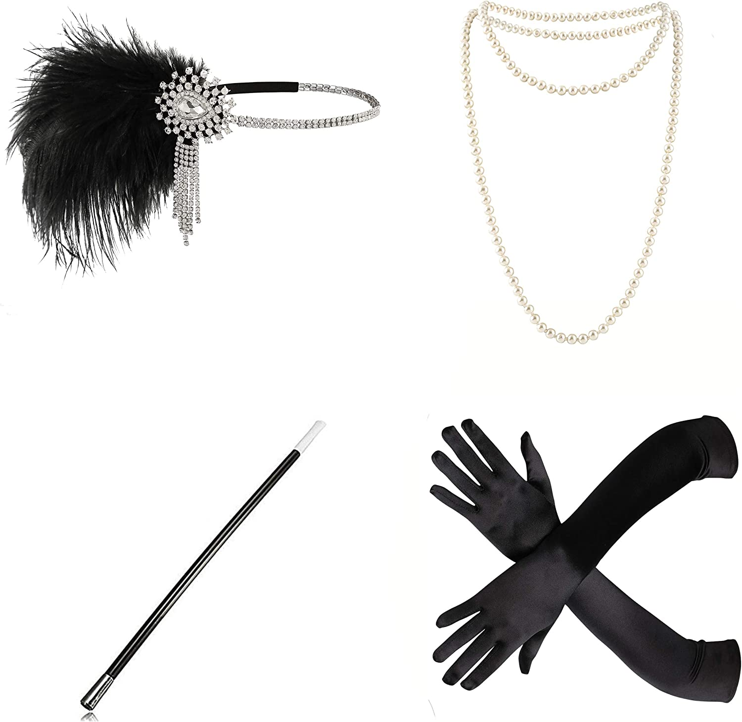 Vintage Gloves History- 1900, 1910, 1920, 1930 1940, 1950, 1960 Radtengle 1920s Flapper Accessories Set Feather Headband Pearl Necklace Black Gloves with Cigarette Holder Gatsby Costume Metme $20.99 AT vintagedancer.com