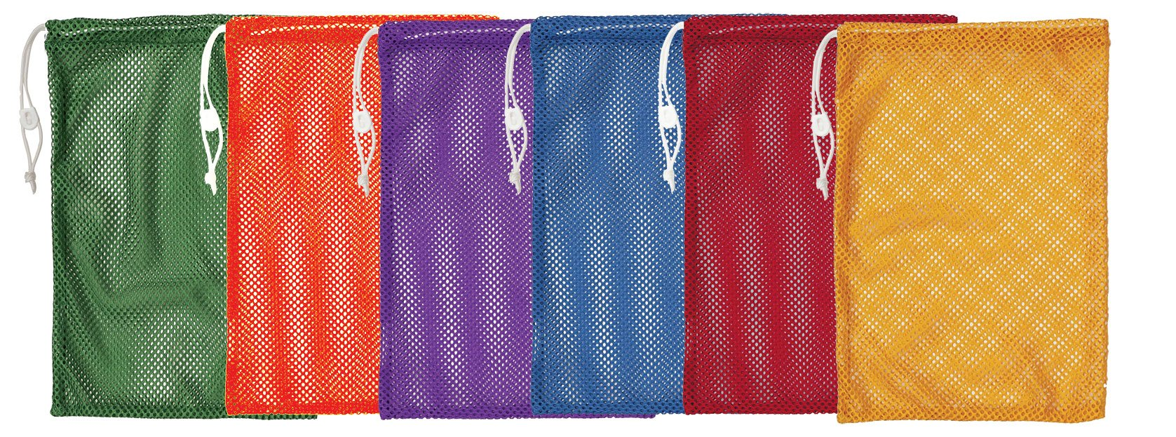 Champion Sports Mesh Equipment Bags, 12'' x 18'', Assorted Colors, Pack of 6