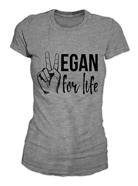 RiotBunny Vegan For Life Vegetarian Food T-Shirt Camiseta Mujeres Gris Small