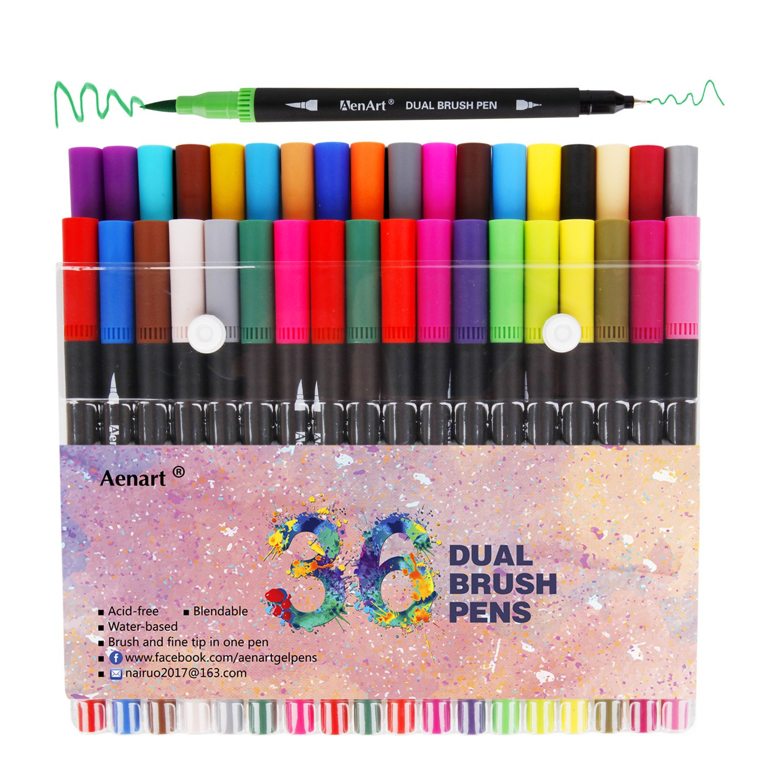 Brush Marker Dual Tip Pens - 36 Colors Art Markers for Coloring Books - Fine Tip Pen and Brush Pen Great for Bullet Journal, Lettering and Calligraphy Mdk-DP