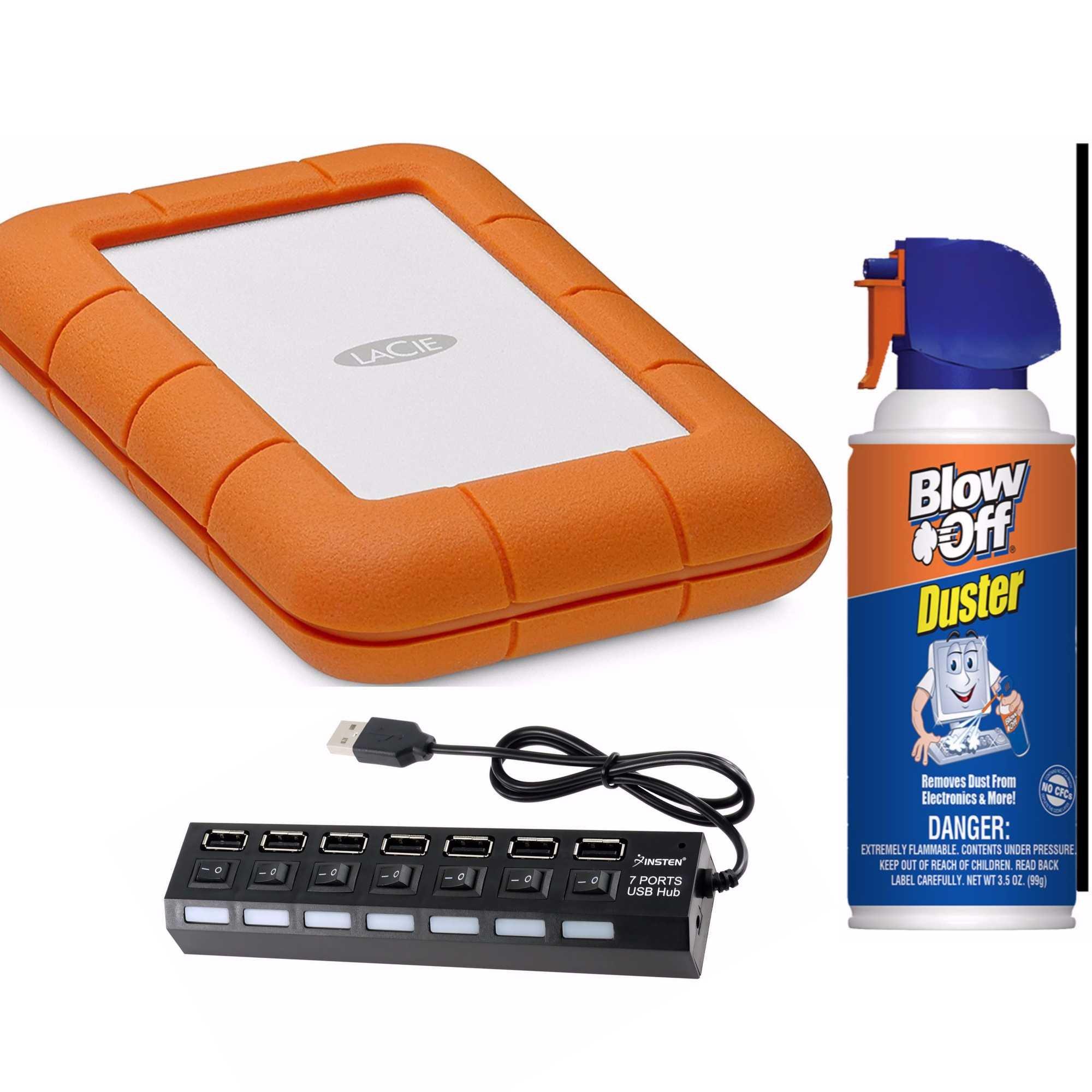 LaCie Rugged Thunderbolt USB-C 1TB SSD Portable Hard Drive (STFS1000401) bundle