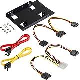 Poppstar - Kit de montage Support et jeu de câbles avec cadre de montage pour 2 SSD - HDD 2,5 pouces internes (câble SATA 3, câbles d'alimentation et vis inclus)