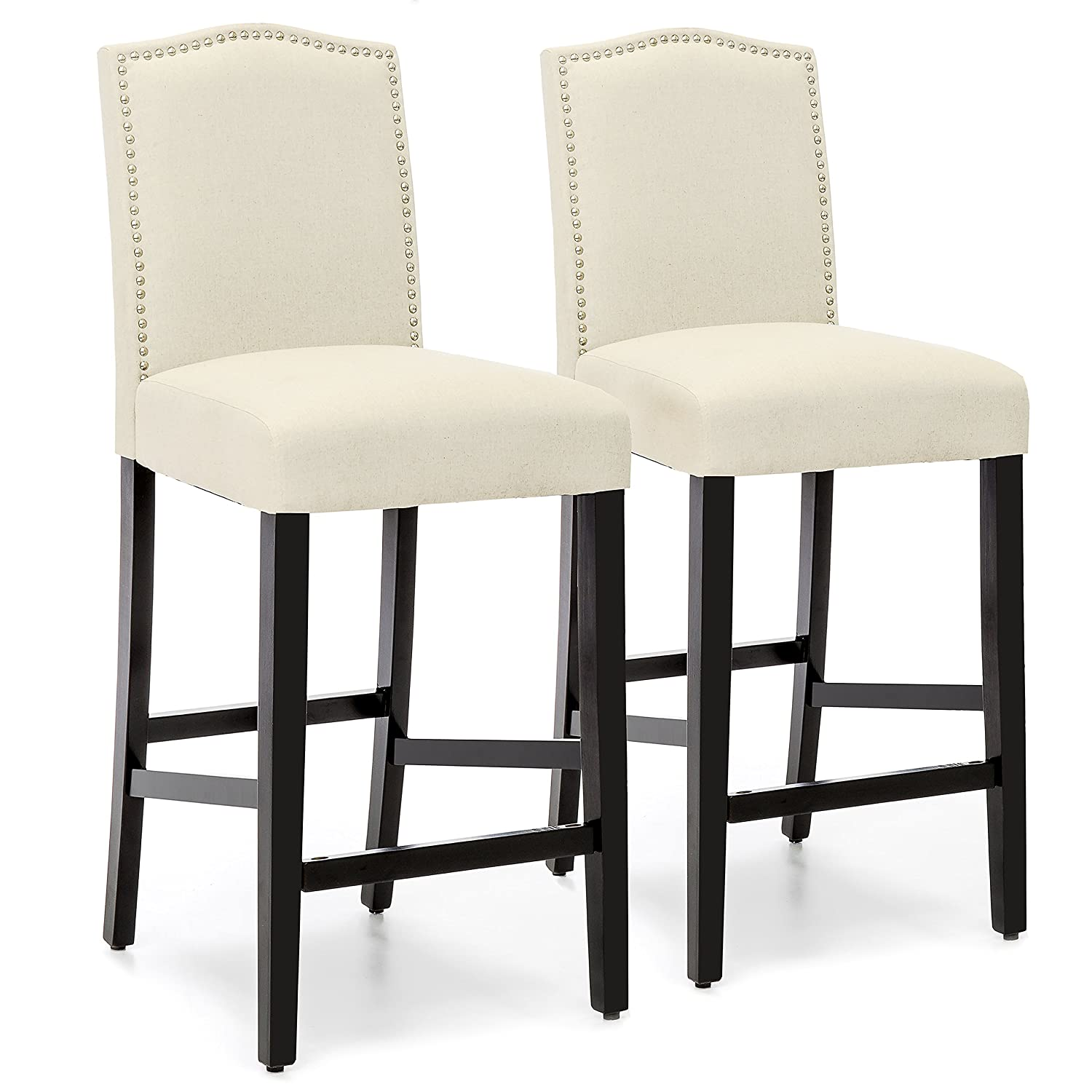 Groovy Best Choice Products Set Of 2 30In Faux Leather Counter Height Armless Bar Stool Chairs W Studded Trim Back Ivory Machost Co Dining Chair Design Ideas Machostcouk