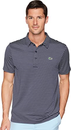 Lacoste Men s Short Sleeve Jersey Raye w Fine Stripes   Button Front  Placket Navy Blue 02f7b971a8ea