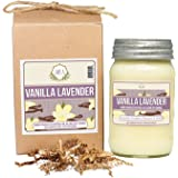 Aira Soy Candles - Organic, Kosher, Vegan, in Mason Jar w/ Therapeutic Grade Essential Oil Blends - Hand-poured 100% Soy Candle Wax - Paraffin Free, Burns 110+ Hours -Vanilla Lavender Scent -16 Ounces