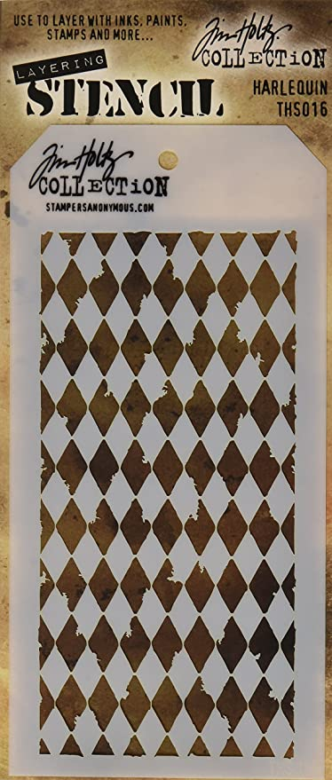 """Stampers Anonymous Tim Holtz Layered Tiles Stencil 4.125/"""" x 8.5/"""""""