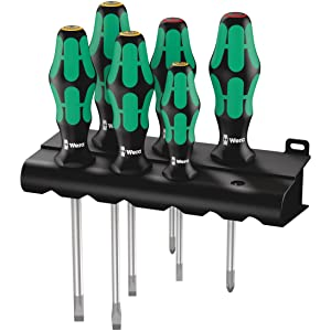 Wera - 5105650001 Kraftform Plus 334/6 Screwdriver Set with Rack and Lasertip, 6-Pieces