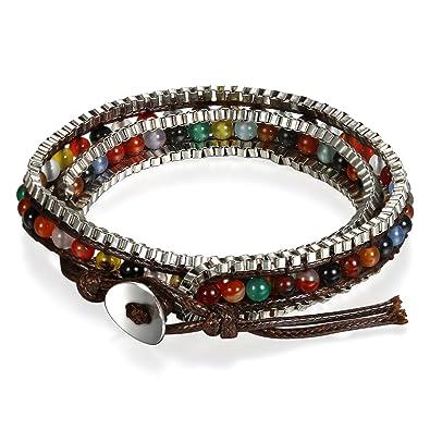 Flongo Bracciale etnico boho perline palle, Braccialetto di cuoio  intrecciato bracciale colorato uomo donna,