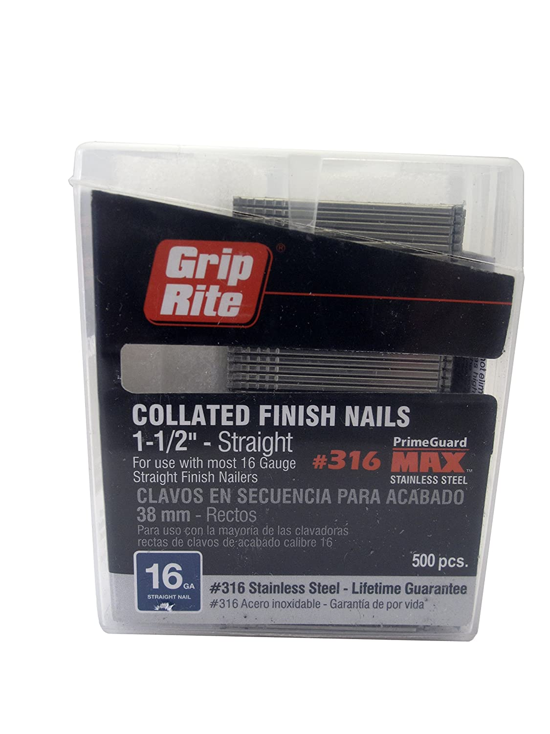 Grip Rite Prime Guard MAXB64895 1-1/2-inch 316 Stainless Steel 16-gauge Straight Finish Nail, 500 per Belt Clip