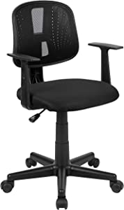 Flash Fundamentals Mid-Back Black Mesh Swivel Task Office Chair with Pivot Back and Arms