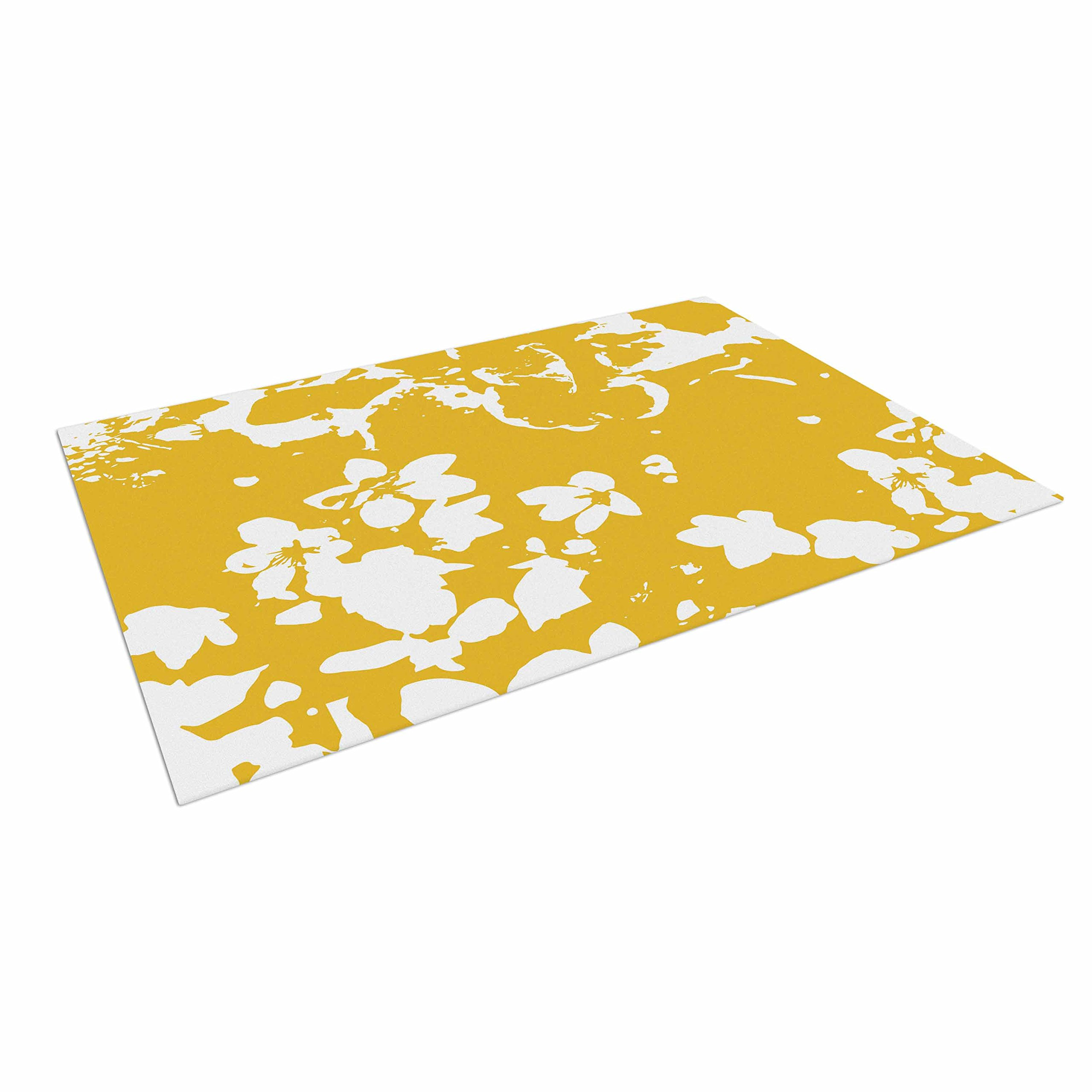 KESS InHouse Love Midge ''Helena Floral Yellow'' Golden White Outdoor Floor Mat, 4' x 5'