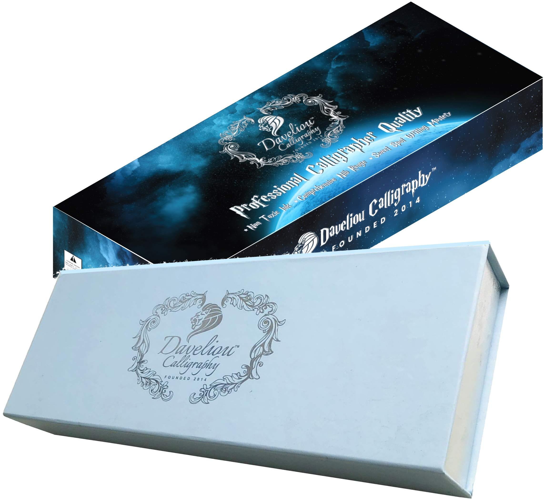 Daveliou Calligraphy Pen Set - 17-Piece Kit - Silver Leaf Blue Glass & Wooden Pens - 10 Nib & 4 Ink Set - Superior Control by Daveliou (Image #3)