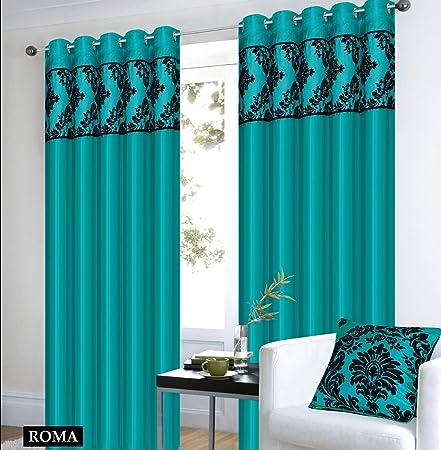 Teal Black Curtains Royal Damask Pencil Pleat Faux Silk 66x72quot W168cm X