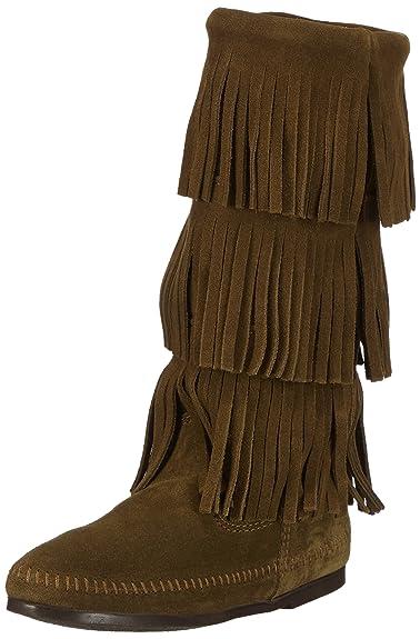 Minnetonka 3-Layer Fringe Boot - Mocasines, color Loden, talla 40 EU/9 US