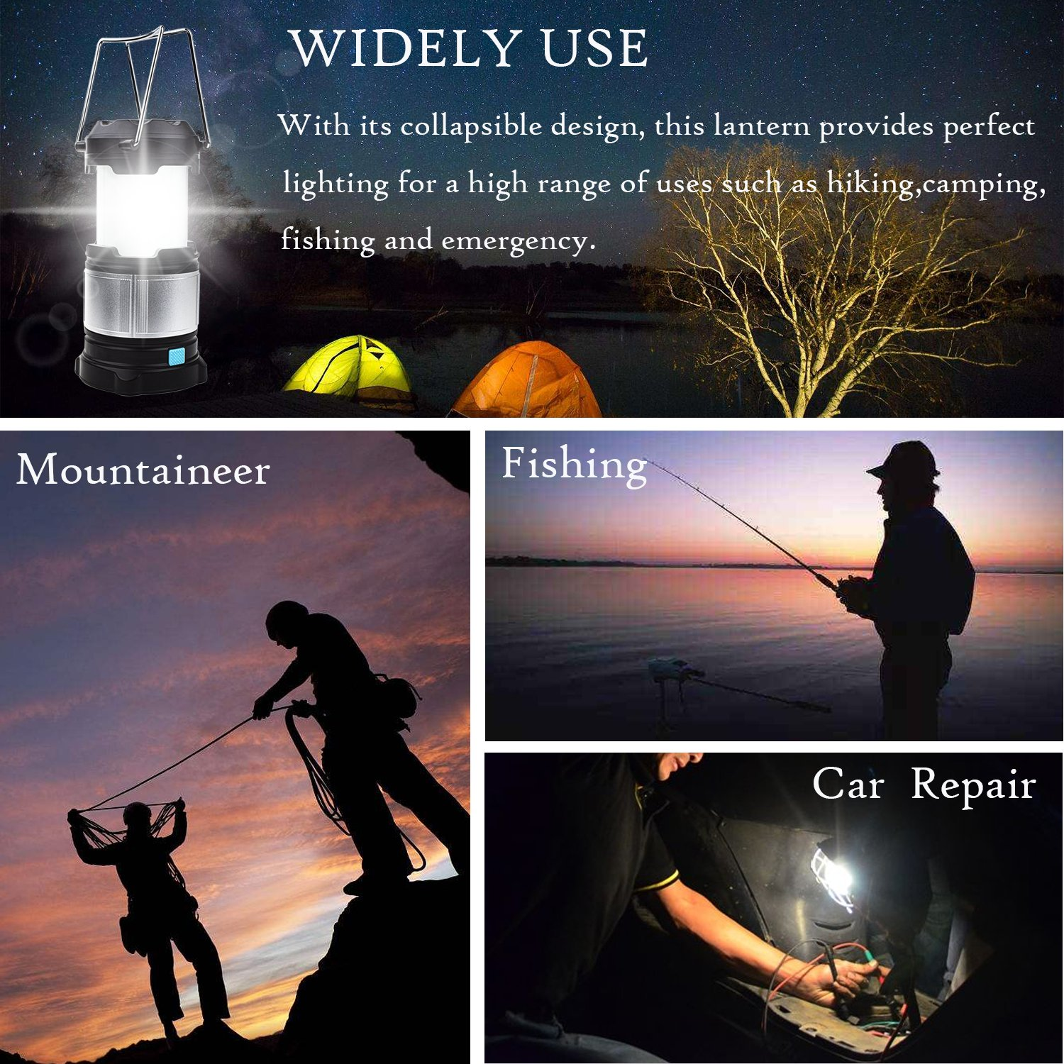 Alcoon Rechargeable LED Camping Lantern Light Lamp with 5600mAh Power Bank, Portable Collapsible Waterproof Outdoor Light with 18650 Li-ion Batteries for Camping Traveling Tent, Emergency, Outage by Alcoon (Image #6)