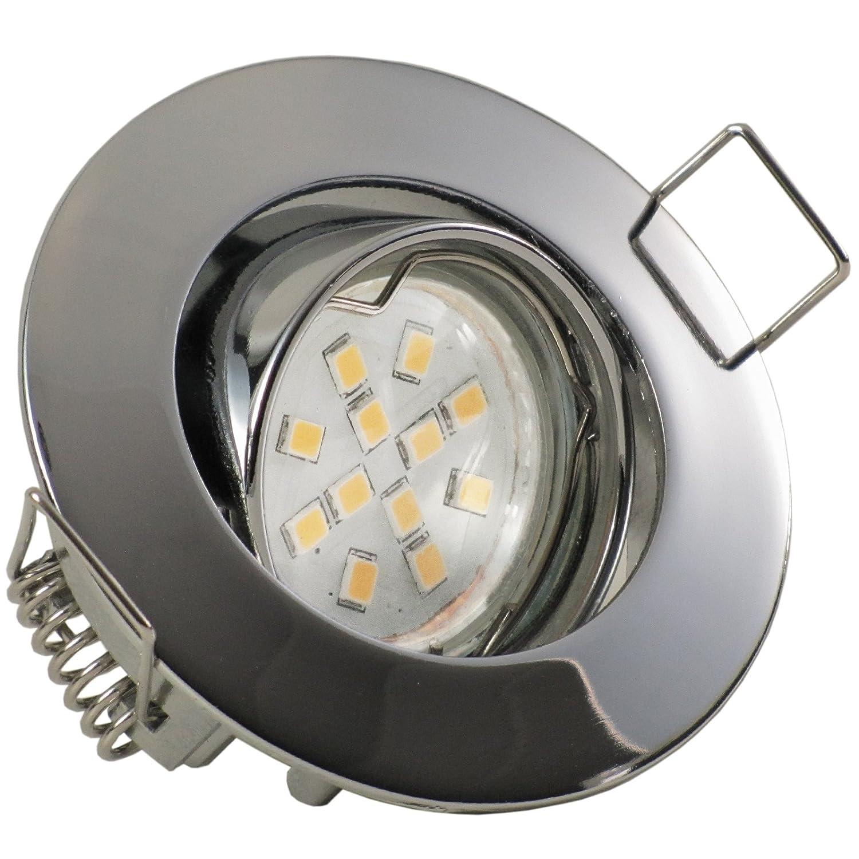8er Set (3-8er Sets) Einbaustrahler PICCO extra flach geringe Einbautiefe ca. 3 cm; LED 2,0 Watt (210 Lumen) Warm-Weiß; 12V inkl. Trafo; CHROM (auch in Edelstahl, Weiß)