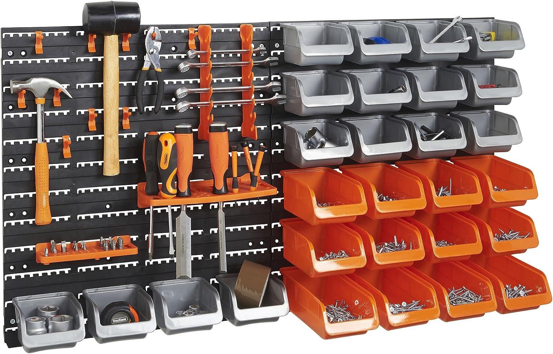 32 Piece Plastic Mounted Wall DIY Tool Organiser Storage Bin /& Board Set Garage