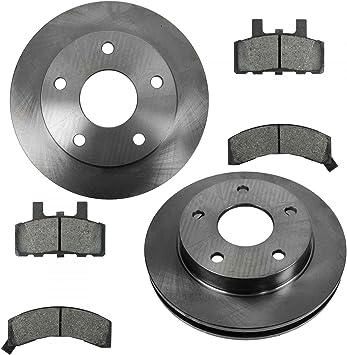 Front Kit 2 Cross-Drilled Disc Brake Rotors 4 Semi-Metallic Pads Fits:- Ram 1500 Heavy Tough-Series 5lug