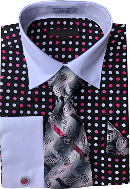 Tie and Hanky Men/'s 100/% Cotton Poka Dot Design ShirFrench Cuff Dress