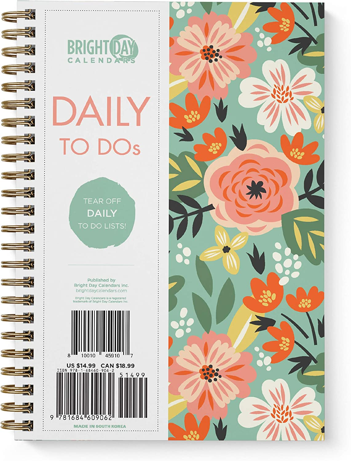 to Do List Daily Task Checklist Planner Time Management Notebook by Bright Day Non Dated Flex Cover Spiral Organizer 8.25 x 6.25 (Tropical Floral)