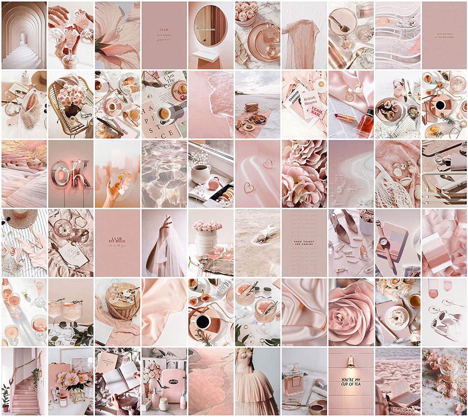 Wall Collage Kit Aesthetic Pictures, Pink Room Decor for Teen Girls, VSCO Posters for Bedroom, Dorm Photo Wall Art, Rosy Collage Prints Kits (60 Set 4x6 inch)