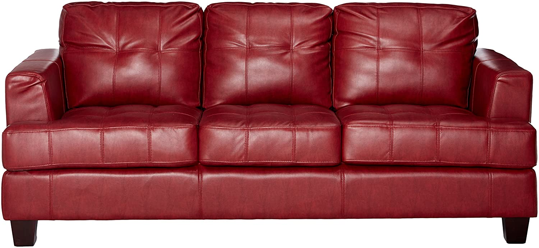 Amazon com samuel leather sofa red kitchen dining