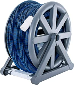 "U.S. Pool Supply 1-1/2"" x 36 Foot Spiral Wound Vacuum Hose with Standard Cuff & Hose Reel"