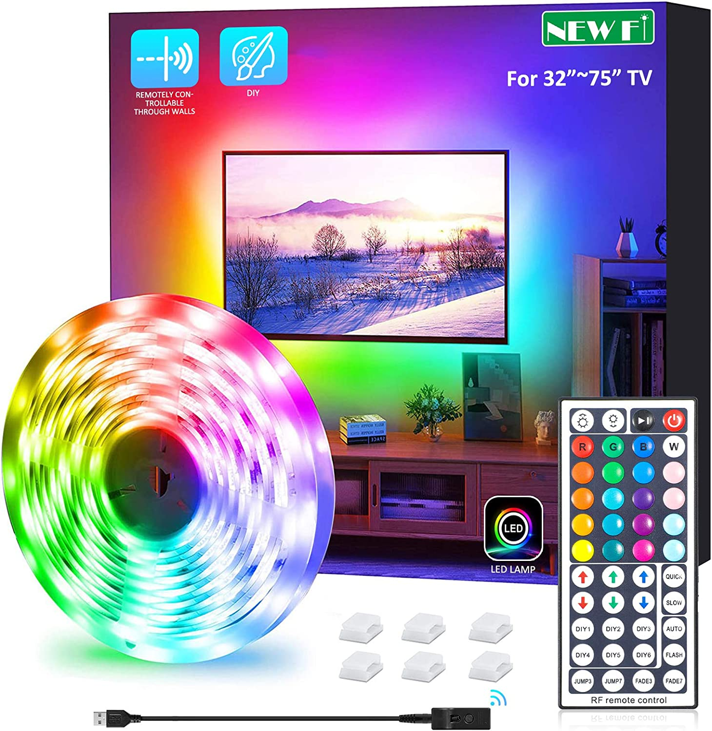 NEW Fi Led Strip Lights, 9.8ft USB LED Strip Light TV Backlight Kit 20 Colors TV Lights 5050 LEDs Bias Lighting with 44 Keys IR Remote Controller for 32 inch~70 inch HDTV PC Monitor Home Theater