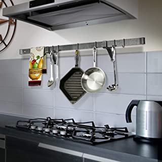 product image for Enclume Premier 48-Inch Rolled End Bar, Wall or Ceiling, Pot Rack, Use with Wall Brackets or Captain Hooks, Hammered Steel