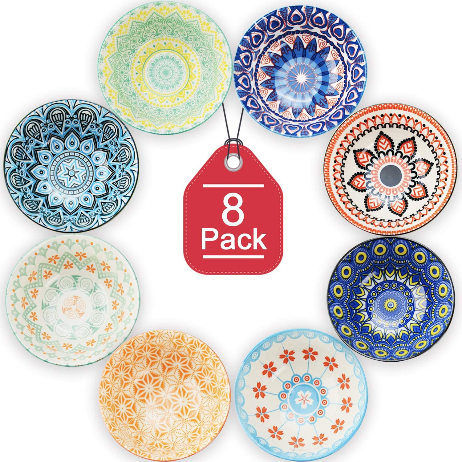 Farielyn-X 8 Pack Small Ceramic Bowls - Porcelain, Soup, Salad, Pasta, Rice, Dessert, Yoghurt, Condiments, Side Dishes, Dip, Ice Cream Ceramic Bowls, 4.75 Inch Diameter, 10 Fluid Ounce (1.25 Cup) Capa